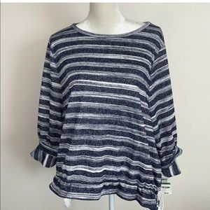 Style and co Womens Blue Striped 3/4 Sleeves Top